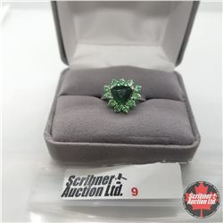 Ring - Size 5: Simulated Emerald & Simulated Green Diamond. Platinum Bond Overlay