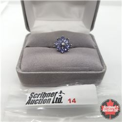 Ring - Size 5: Iolite White Topaz Platinum Overlay - Sterling Silver