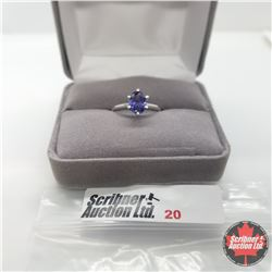 Ring - Size 5: Simulated Sapphire - Sterling Silver
