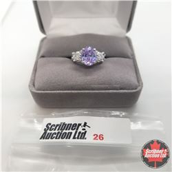Ring - Size 5: Simulated Lavender & White Diamond - Sterling Silver