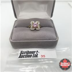 Ring - Size 5: Simulated Pink/White Diamond - Sterling Silver