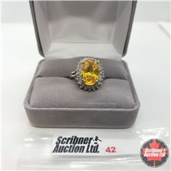 Ring - Size 6: Simulated Yellow Diamond Austrian Crystal - Stainless