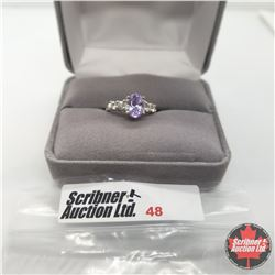 Ring - Size 5: Simulated Purple Sapphire & Simulated Diamond - Sterling Silver