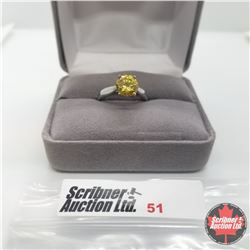 Ring - Size 6: Simulated Yellow Diamond - Stainless Steel