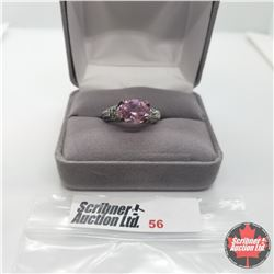 Ring - Size 9: African Lilac Quartz - Sterling Silver Platinum Overlay