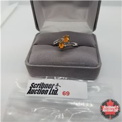 Ring - Size 5: Fire Opal w/White Topaz Platinum Overlay