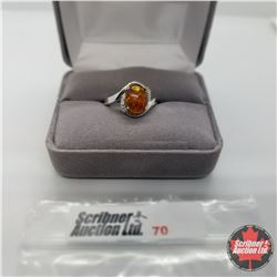 Ring - Size 7: Baltic Amber Diamond - Sterling Silver