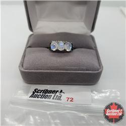 Ring - Size 7: Moonstone Enhanced Blue Diamond - Sterling Silver