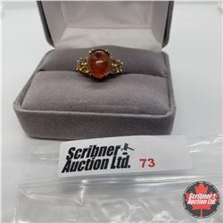 Ring - Size 6: Baltic Amber & Brazilian Citrine Platinum Overlay