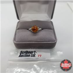 Ring - Size 9: Baltic Amber & Diamond - Sterling Silver