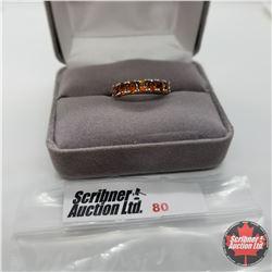 Ring - Size 8: Citrine Band Santa Ann Platinum Overlay