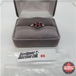 Ring - Size 6.5: Garnet 3 Stone - Sterling Silver
