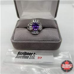 Ring - Size 6: Simulated Purple Sapphire - Stainless Steel