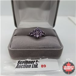 Ring - Size 6: Purple Sapphire (Lab) Platinum Bond Overlay
