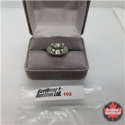 Ring - Size 6: Green Amethyst Platinum Bond Overlay