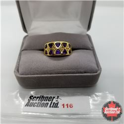 Ring - Size 6: Amethyst Tri Band - Sterling Silver