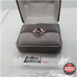 Ring - Size 6: Pear Garnet & Simulated Diamond - Sterling Silver