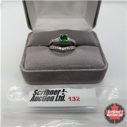 Ring - Size 6: Simulated Green Sapphire Simulated Diamond 2 Ring Set - Sterling Silver