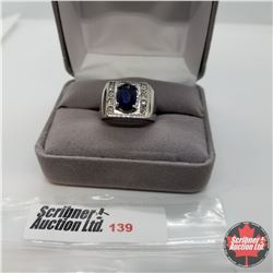 Ring - Size 6: Blue Glass Swarovski Crystal - Stainless
