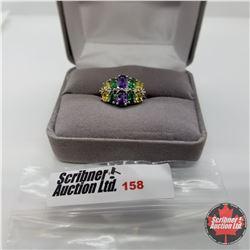 Ring - Size 7: Simulated Emerald Yellow & Purple Sapphires Platinum Bond Overlay