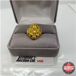 Ring - Size 6: Simulated Yellow Diamond - Sterling Silver - Stainless with 18K overlay brass