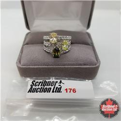 Ring - Size 6: Simulated Yellow & Green Sapphire Peridot Simulated Diamond - Sterling Silver ...