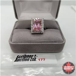 Ring - Size 6: Simulated Pink & White Diamond - Sterling Silver - Stainless ION plated brass 18k