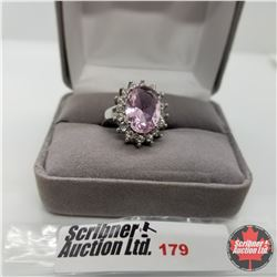 Ring - Size 6: Simulated Pink Sapphire Stainless Steel