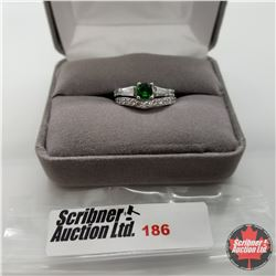 Ring - Size 6: Green Sapphire Simulated Diamond Set - Sterling Silver - Stainless