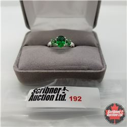 Ring - Size 6: Simulated Emerald - Sterling Silver