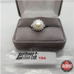 Ring - Size 6: Simulated Pearl & Diamond - Sterling Silver