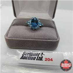 Ring - Size 7: London Blue/Electric Blue Topaz - Sterling Silver - Platinum bond overlay