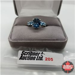 Ring - Size 7: London Blue/Electric Blue Topaz Platinum Overlay