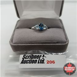 Ring - Size 8: Chinese Blue Topaz - Sterling Silver - Platinum bond overlay