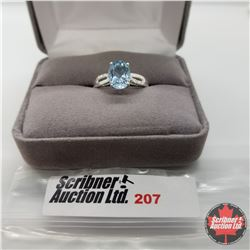 Ring - Size 7: Sky Blue Topaz & Simulated Diamond - Sterling Silver