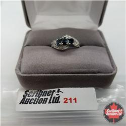 Ring - Size 7: Blue Sapphire & Diamond - Sterling Silver - Platinum Bond Overlay