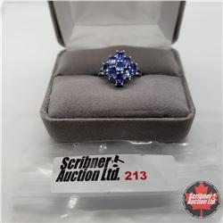 Ring - Size 7: Blue Sapphire (Lab) - Sterling Silver - Platinum Bond Overlay