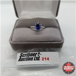 Ring - Size 7: Simulated Blue Sapphire - Sterling Silver