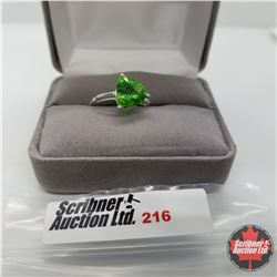 Ring - Size 7: Simulated Emerald - Stainless Only - Sterling Silver