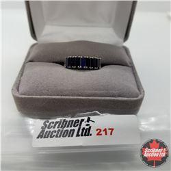 Ring - Size 7: Blue Sapphire (Lab Created) Platinum Bond Overlay