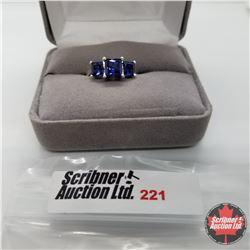 Ring - Size 7: Ceylon Sapphire (Lab) - Sterling Silver - Platinum bond overlay
