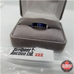 Ring - Size 7: Blue Sapphire (Lab) Platinum Overlay