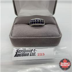 Ring - Size 7: Blue Sapphire (Lab) Platinum Bond Overlay