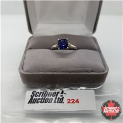 Ring - Size 7: Blue Sapphire - Sterling Silver - Platinum bond overlay