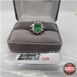 Ring - Size 7: Sim Emerald & Sim Diamond - Sterling Silver - Platinum bond overlay