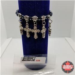 Bracelet - Stretch - Black Bead & Crosses