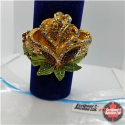 Bangle - Red Gold Rose (opens) Austrian Crystal