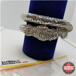Bangle - Silver Snake Memory Wire Austrian Crystal