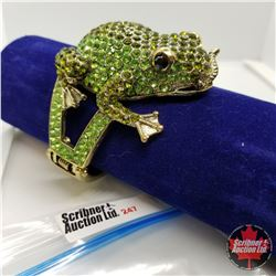 Bangle - Green Toad (opens) Austrian Crystal