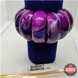 Bracelet - Stretch - Purple Wood Austrian Crystal